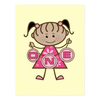 Kleines Mädchen-1. Geburtstags-T - Shirts und Postkarte