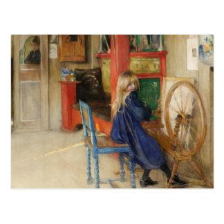 Kleines Mädchen am Spinnrad Postkarte