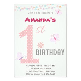 Kleines Mädchen-erste Geburtstags-Party Einladung
