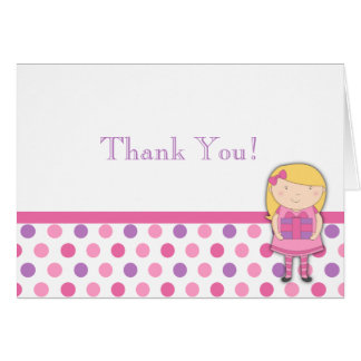 Kleines Mädchen-Geburtstag danken Ihnen, Tupfen zu Grußkarte
