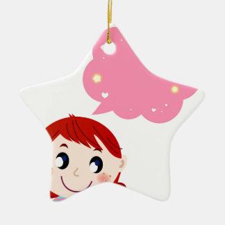 Kleines Mädchen mit Blasent-shirt Keramik Stern-Ornament
