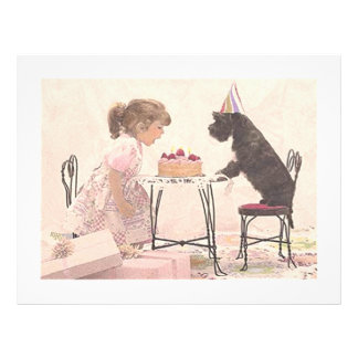 Kleines Mädchen u. Hund Celelbration Flyer