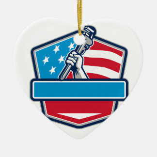 Klempner-Handrohr-Schlüssel USA-Flaggen-Schild Keramik Ornament