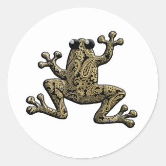 Kletternder Frosch Goldschwarzer Paisleys Runder Aufkleber