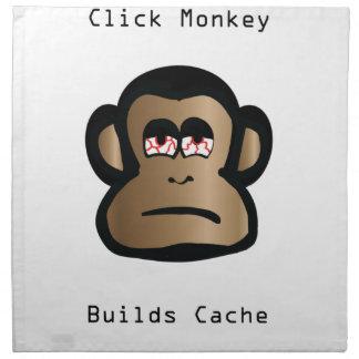Klicken-Affe errichtet Pufferspeicher Stoffserviette