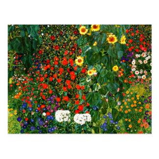 Klimt - Bauernhof-Garten mit Sonnenblumen Postkarte
