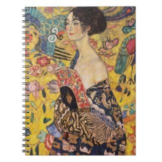 Klimt Dame mit Fächer-schöner Kunst Spiral Notizblock