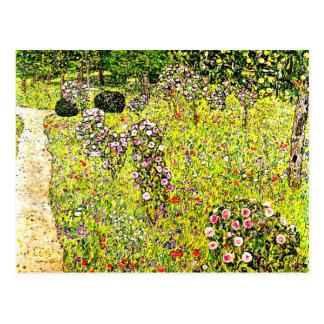 Klimt - Frucht-Garten mit Rosen, Kunst Gustav Postkarte