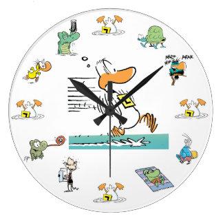 Klingeln-Enten-Sumpf-Charakter-Uhr Große Wanduhr