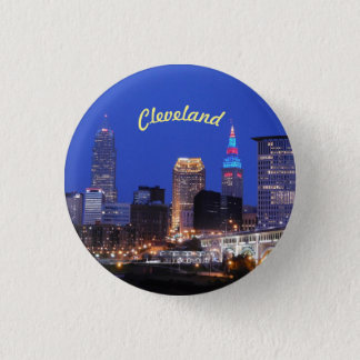 Knopf Fluss-Skyline-Clevelands OH- Runder Button 3,2 Cm