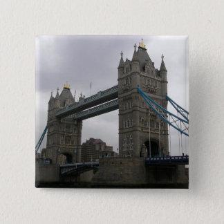 Knopf mit Turm-Brücke über der Themse Quadratischer Button 5,1 Cm