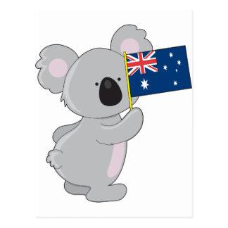 Koala-Australier-Flagge Postkarte