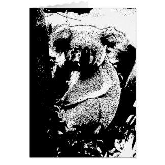 Koala in Schwarzweiss Karte