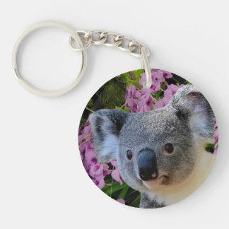Koala und Orchideen Schlüsselanhänger