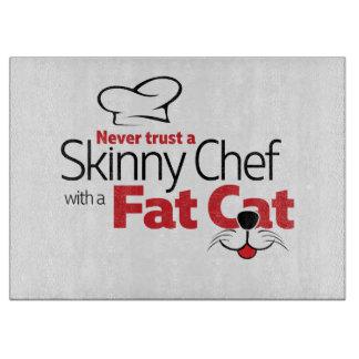 Koch mit fetter Katze - Ausschnitt-Brett Schneidebrett