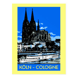 Koeln Köln retro Vintage Art-Reiseanzeige Postkarten