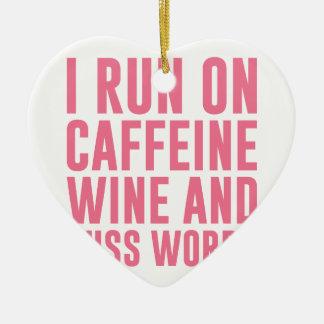 Koffein-Wein u. fluchen Wörter Keramik Herz-Ornament