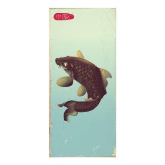 Koi Art der China Vintages Karpfen-Reiseplakat. Fotodruck