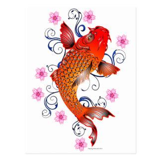 Koi Fisch-Karpfen-Ostblüte Postkarte