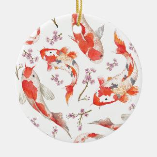 Koi Kirschblüten-Muster Rundes Keramik Ornament