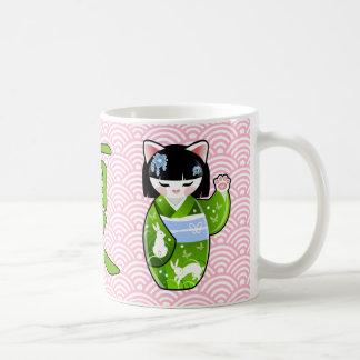 Kokeshi Maneki Neko japanische glückliche Katze Kaffeetasse