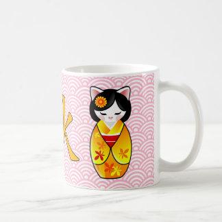Kokeshi Maneki Neko japanische glückliche Katze Tasse