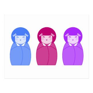 Kokeshi Puppen-Trio Postkarte