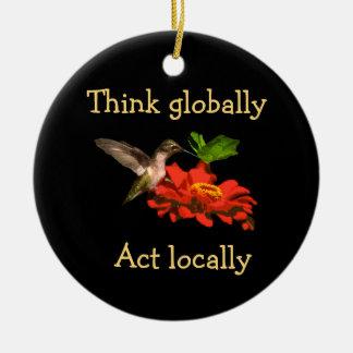 Kolibri denken, dass global Tat am Ort verzieren Rundes Keramik Ornament