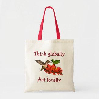 Kolibri denken global Taten-am Ort Rot Tragetasche