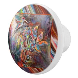 Kolibri-Flug-weiche Pastell-Kunst Keramikknauf