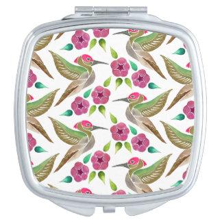 Kolibri-und Petunie-abstrakte Malerei Taschenspiegel