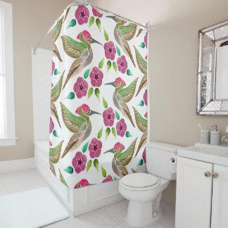 Kolibri-und Petunie-abstraktes Malerei-Muster Duschvorhang