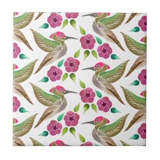 Kolibri-und Petunie-abstraktes Malerei-Muster Kleine Quadratische Fliese