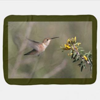 Kolibri-Vogel-Blumen-Blumentier-Tiere Babydecke