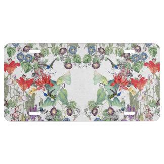 Kolibri-Vogel-Blumen-Garten-Lizenz-Platte US Nummernschild