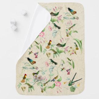 Kolibri-Vogel-u. Blumen-Tier-Baby-Decke Puckdecke