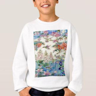 Kolibris und beflecktes Glas wow der Blumen Sweatshirt