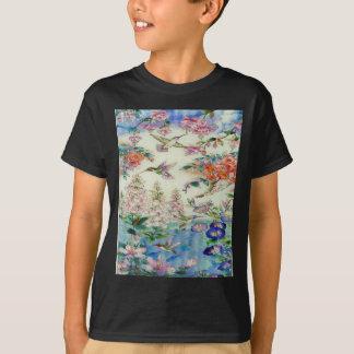 Kolibris und beflecktes Glas wow der Blumen T-Shirt