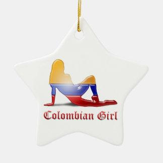 Kolumbianische Mädchen-Silhouette-Flagge Keramik Stern-Ornament