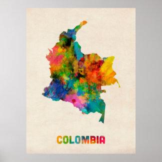 Kolumbien-Aquarell-Karte Poster