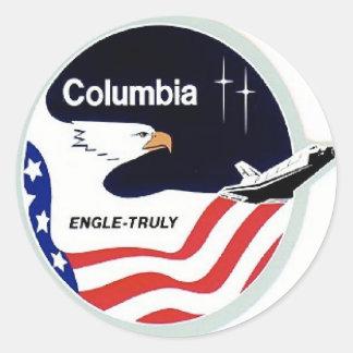 Kolumbien-Raumfähre Runder Aufkleber