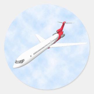 Kommerzielles Jet-Flugzeug: Modell 3D: Runder Aufkleber