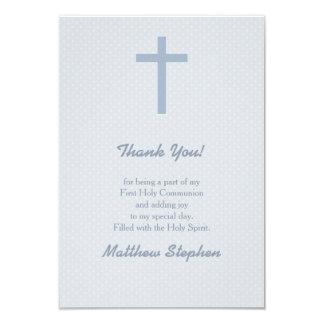 Kommunions-blaues Pastellkreuz 8,9 X 12,7 Cm Einladungskarte