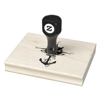 Kompass-Rose mit Anker Gummistempel