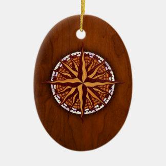 Kompass-Rosen-Holz Keramik Ornament