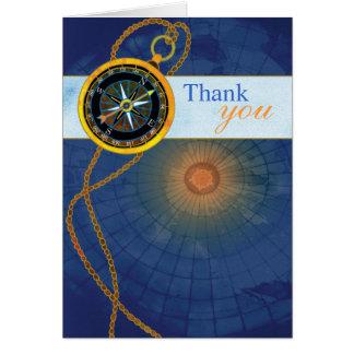 Kompass + Weltkarte-Geschäft danken Ihnen Mitteilungskarte