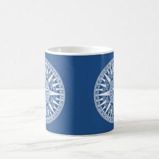Kompass-Wind-Rosen-blaues Weiß Tasse
