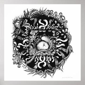 Kompost-Mandala - Schwarzes auf Weiß Poster