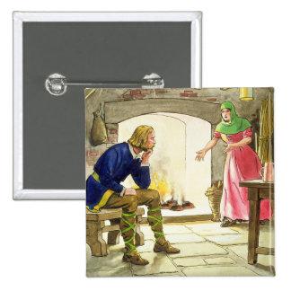 König Alfred (849-99) die Kuchen, 'vom Blick brenn Quadratischer Button 5,1 Cm