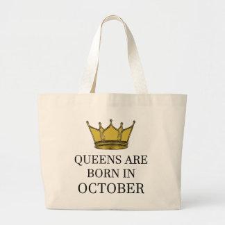 Königinnen sind im Oktober geboren Jumbo Stoffbeutel